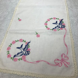 Vintage Embroidered Birds Swallows & Bows Runner